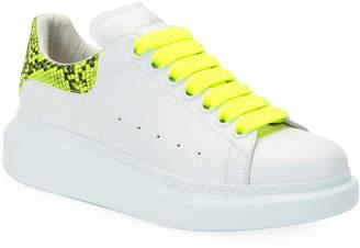 Alexander McQueen Neon Lace-Up Snakeskin-Print Sneakers