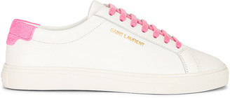 Saint Laurent Lace Up Sneakers in White & Pink | FWRD