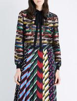 Mary Katrantzou Tiger-print organza blouse