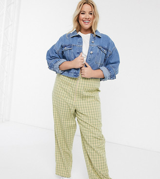 ASOS DESIGN Curve high waist pants in lemon and green check