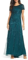 Adrianna Papell Women's Embellished Short Sleeve Gown