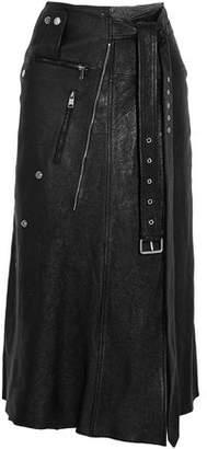 Alexander McQueen Zip-embellished Textured-leather Midi Skirt