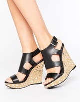Missguided Star Foil Printed Wedge Sandal