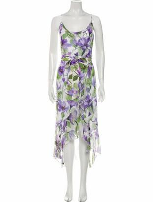 Alice + Olivia Floral Print Long Dress Purple