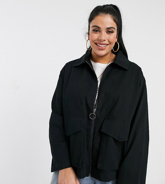 ASOS DESIGN Curve cotton pocket shacket in black