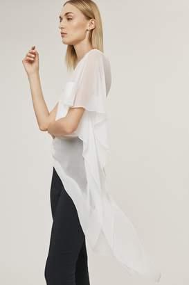 Cushnie White Silk Chiffon One Shoulder Sheer Top