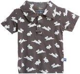 Kickee Pants Print Polo (Baby) - Stone Bunny-18-24M