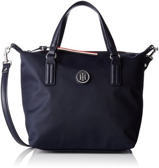 Tommy Hilfiger Womens Poppy Small Tote Canvas and Beach Tote Bag Blue (Tommy Navy)