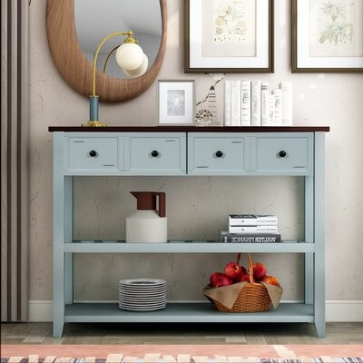Thumbnail for your product : Red Barrel Studio Entryway Table Console Table With Two Shelfs And Drawers, Grey Table Top Color: Brown, Table Base Color: Green