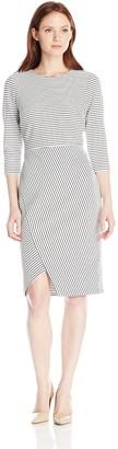 Calvin Klein Women's Petite 3/4 Sleeve Scoop Neck Stripe Dress with Uneven Hem