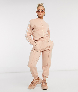 ASOS DESIGN tracksuit high neck sweat / jogger with stripes in putty