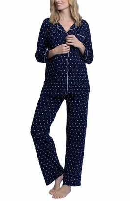 Angel Maternity Polka Dot Maternity/Nursing Pajamas & Baby Wrap Set