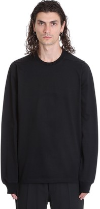 Rick Owens Short Crewneck Sweatshirt In Black Cotton