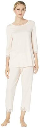 Hanro Valencia 3/4 Sleeve Cropped Pajama Set (Crystal Pink 1) Women's Pajama Sets