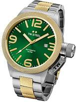 TW Steel Canteen Men's Automatic Watch with Green Dial Analogue Display and Grey Stainless Steel Gold Plated Bracelet CB66