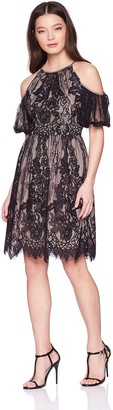 Maggy London Women's Petite Lace Party Dress with Cold Shoulder Detail