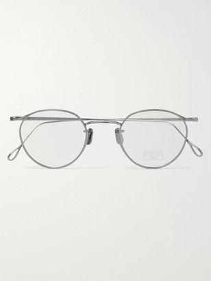 Eyevan 7285 Round-Frame Silver-Tone Optical Glasses