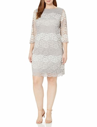 Jessica Howard JessicaHoward Women's Plus Size 3/4 Sleeve Lace Shift