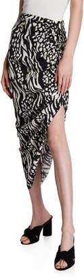 Veronica Beard Ari Ikat Animal-Print High-Low Skirt