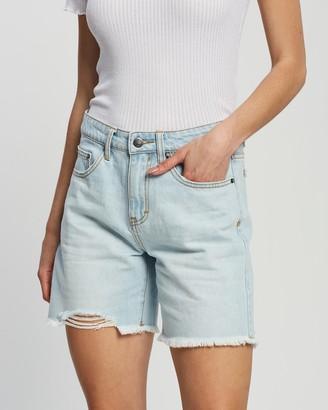 Rusty Women's Blue Denim - Raw Boyfriend Denim Shorts - Size 6 at The Iconic