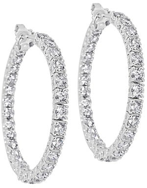 Zydo Luminal 18K White Gold & Diamond Inside-Out Hoop Earrings
