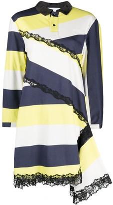 Koché Lace-Trimmed Striped Shirt Dress