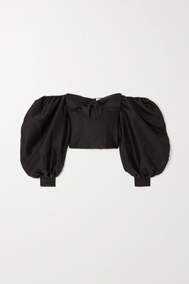 ATTICO Cropped Off-the-shoulder Bow-embellished Herringbone Satin Top - Black