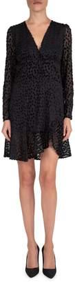 The Kooples V-Neck Illusion Dot Flounce Dress