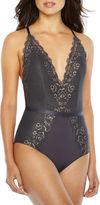 Ambrielle Sleeveless V Neck Lace Bodysuit-Average Figure