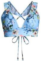 Shoshanna Floral Ruffle-Neck Bikini Top