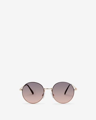 Express Round Rose Metal Frame Sunglasses
