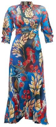 Peter Pilotto Floral Print Hammered Silk Blend Dress - Womens - Gold