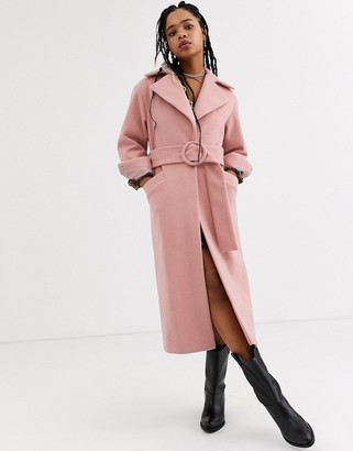 Topshop trench coat with belt in pink