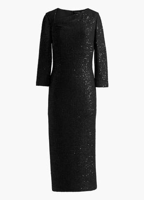 St. John Statement Sequin Asymmetric Neck Dress