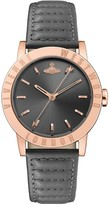 Vivienne Westwood Warwick II Black Sunray and Rose Gold Detail Dial Black Leather Strap Watch
