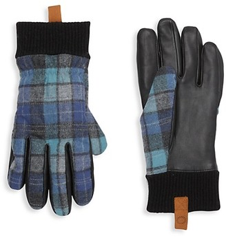 UGG Smart Plaid Leather Faux Fur-Lined Gloves