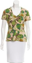 John Galliano Printed V-Neck Top