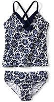 Classic Toddler Girls Grommet Tankini Swimsuit Set-Sky Blue Chevron