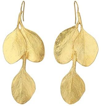 Kenneth Jay Lane Leaf Hook Earrings (Satin Gold) Earring