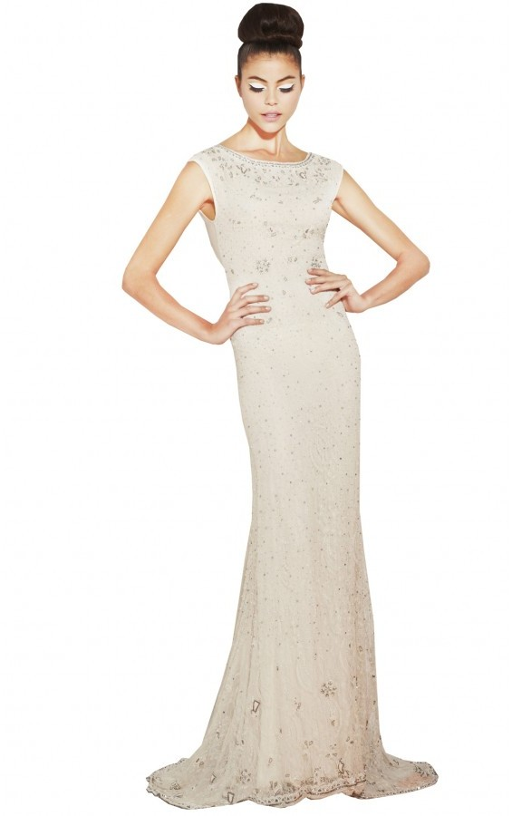 Alice + Olivia Maybelle Beaded Detailed Back Gown