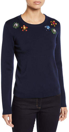 Escada Jewel-Embroidered Crewneck Long-Sleeve Wool Sweater