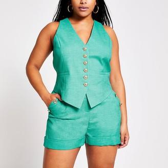 River Island Plus green waistcoat