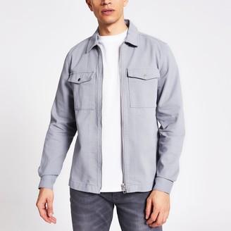 River Island Mens Blue zip front regular fit overshirt
