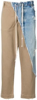 Greg Lauren patchwork straight-leg trousers