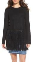 Moon River Women's Fringe Hem Knit Sweater
