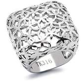 Eternal Sparkles Square Stainless Steel Floral Cutout Cocktail Ring,Size:8