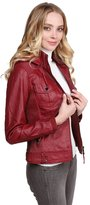 Made by Emma Faux Leather Jacket With Detachable Hood Ivory L