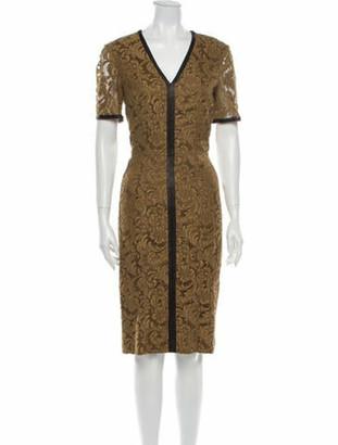 Burberry Lace Pattern Midi Length Dress Brown