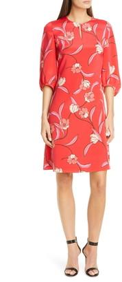 St. John Spring Floral Print Silk Dress
