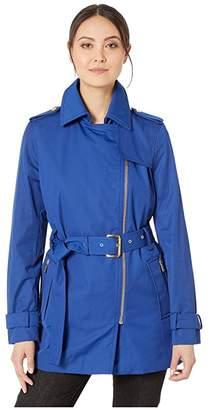 MICHAEL Michael Kors Zip Front Trench (Twilight Blue) Women's Coat